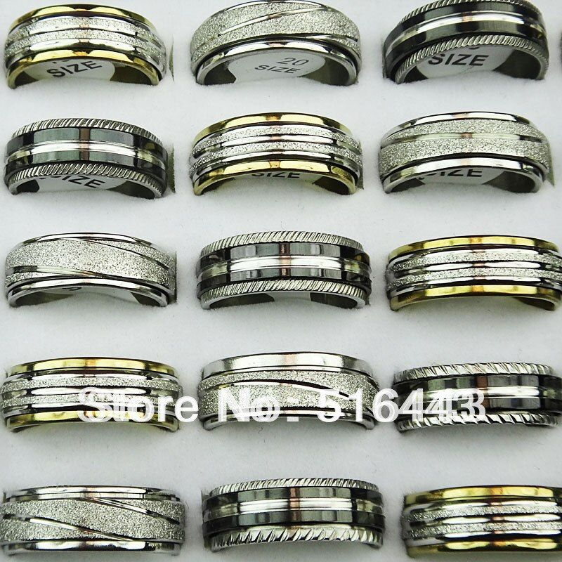 50pcs Double Layer Spin Stainless steel Men Womens Mix Bulk Rings Wholesale Jewelry Lots A304