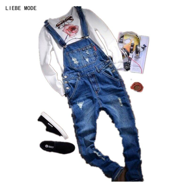 Male Vintage One Piece Denim Jumpsuit For Men Ripped Jeans Casual Bib Overalls
