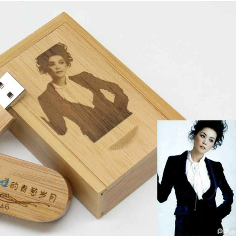 Custom Logo Photo Wooden Wood DIY logo usb 2.0 Version memory flash stick pen drive for wedding photography Maple,walnut Bamboo