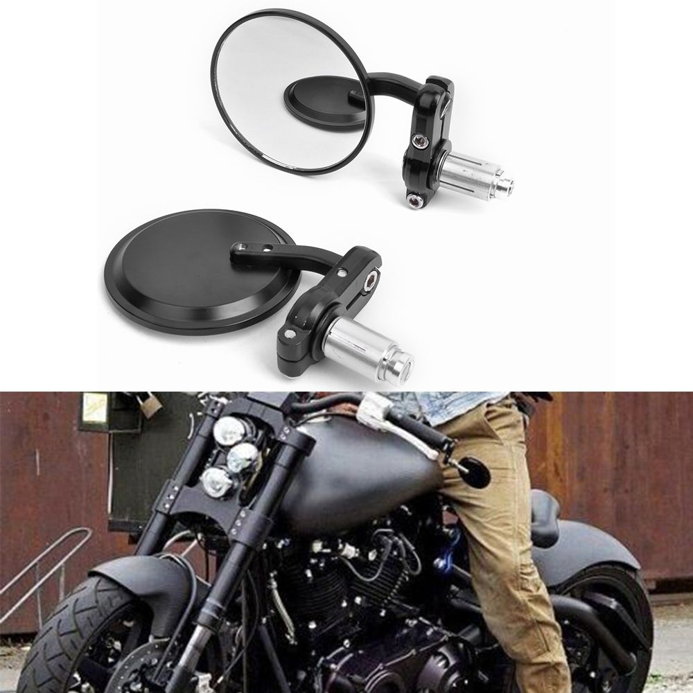 "NEW CNC MOTORCYCLE 3"" ROUND BLACK 7/8"" HANDLE BAR END MIRRORS For CAFE RACER BOBBER CLUBMAN"