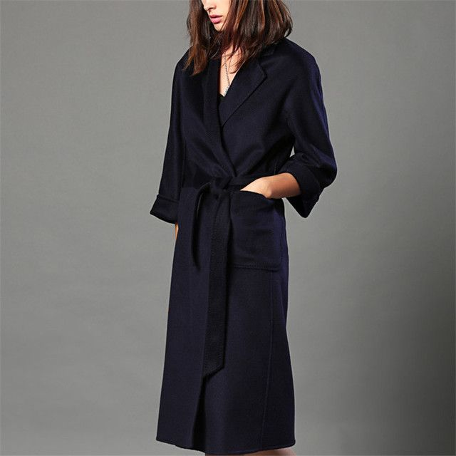 Women 100% Cashmere Woolen Coats Brand Double-side Ladies High Quality Long Slim Fit Autumn Winter Thick Woolen Overcoat  W4069
