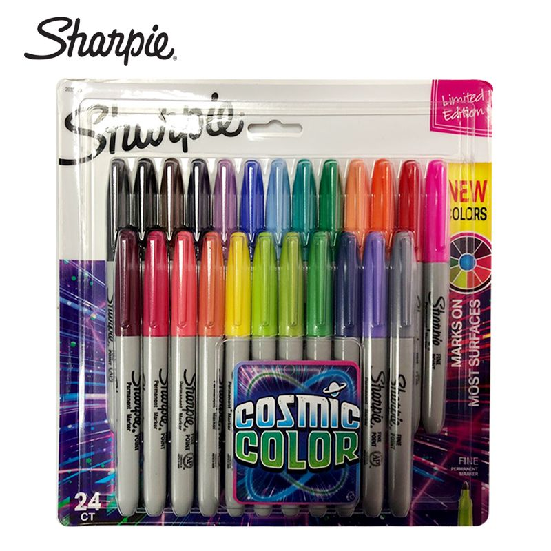 24Pcs/set Sharpie Oil Marker Pens Colored Markers Art Pen Permanent Colour Marker Pen Office Stationery 1mm Nib