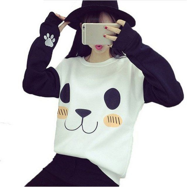 College Style Women Velvet Inner Hoodies Fashion Cartoon Panda Printed Casual Sweatshirts Patch Color Girls Tracksuits