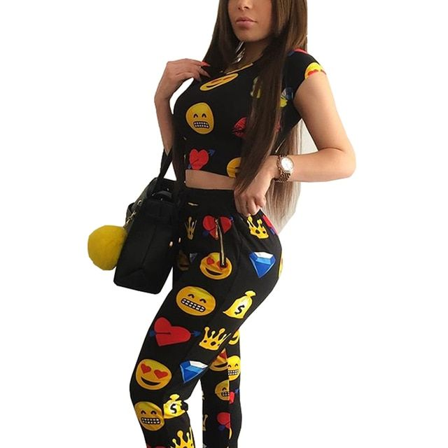 2016 Autumn New Women's Sets Sleeveless Short Crop Tops + Bodycon Pants Sets Emoji Smiley QQ Expression Print Twinset Wmz2089