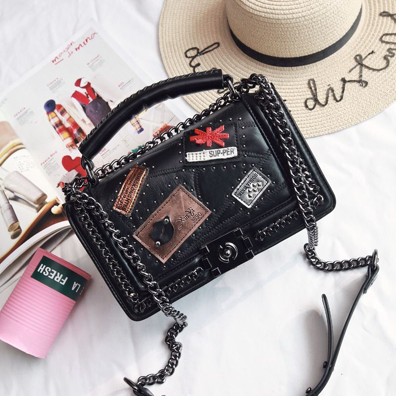 Fashion Women Genuine Leather Message Bags Chain Flap Bag Le Boy Handbag Women Bags Quilted Chain Crossbody Bag Free Shipping