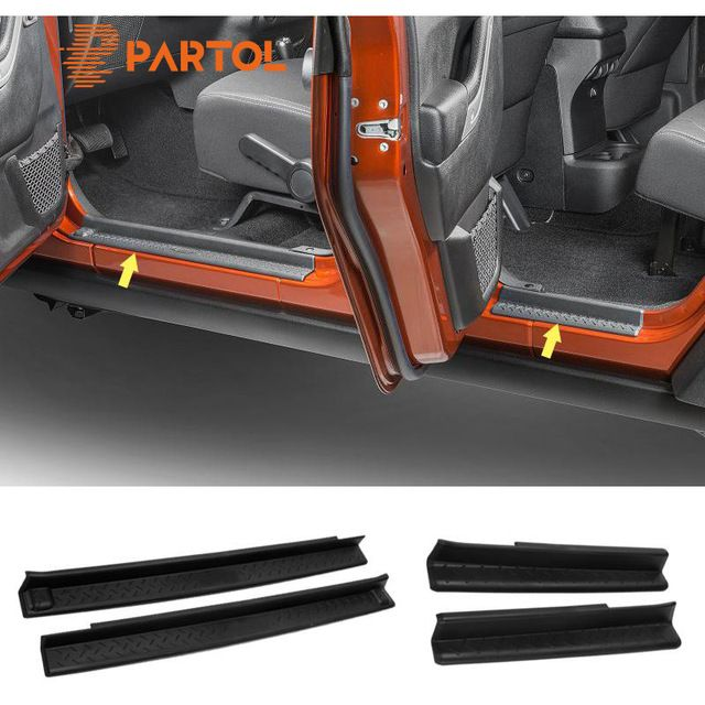 Partol 2pcs/ 4pcs ABS Door Sill Entry Guards Strips Non-slip Scuff Plates Protectors Cover Trim Kit For Jeep Wrangler JK 4DR 2DR