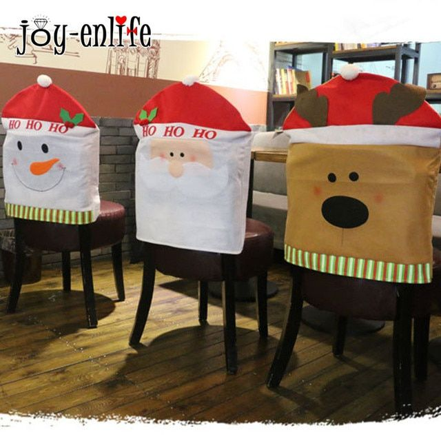 JOY-ENLIFE 1pc Santa Claus Snowman Elk Christmas Chair Cover Set  Event Party Christmas Hat Home Party Dining Table Decoration