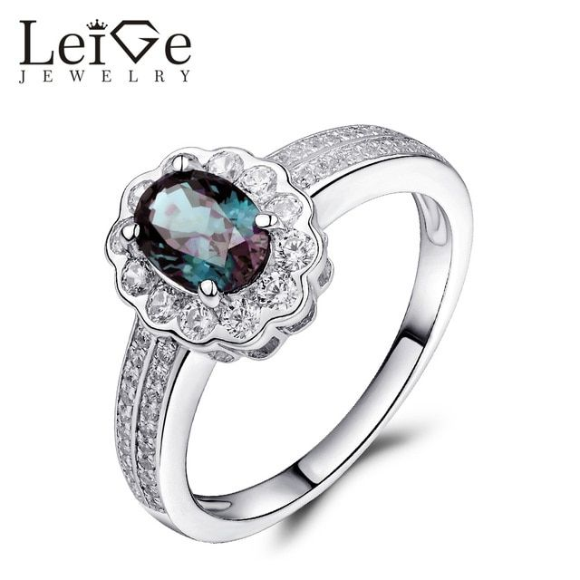 Leige Jewelry Blue Alexandrite Ring 925 Silver Oval Cut Gemstone Ring for Women Wedding Engagement Ring Anniversary Gift