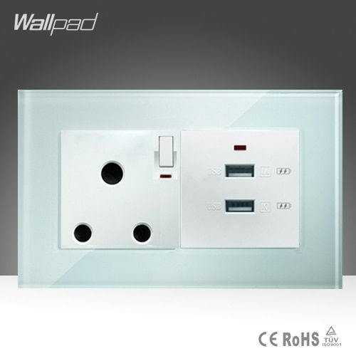 15A 16A South Africa Socket and Dual 3.0 USB Socket Wallpad 146*86mm White Glass 2 USB Ports and 16A SA Switched Socket with LED