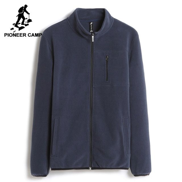 Pioneer Camp warm sweatshirts men brand-clothing solid fleece zipper hoodies male top quality dark blue AJK702388