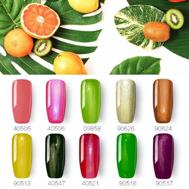 10pcs UV Led Nail Gel Polish Soak Off Vernis Semi Permanent Top Base Coat Shining Colors Gel Lak Gelpolish Varnish Nail Art Tool