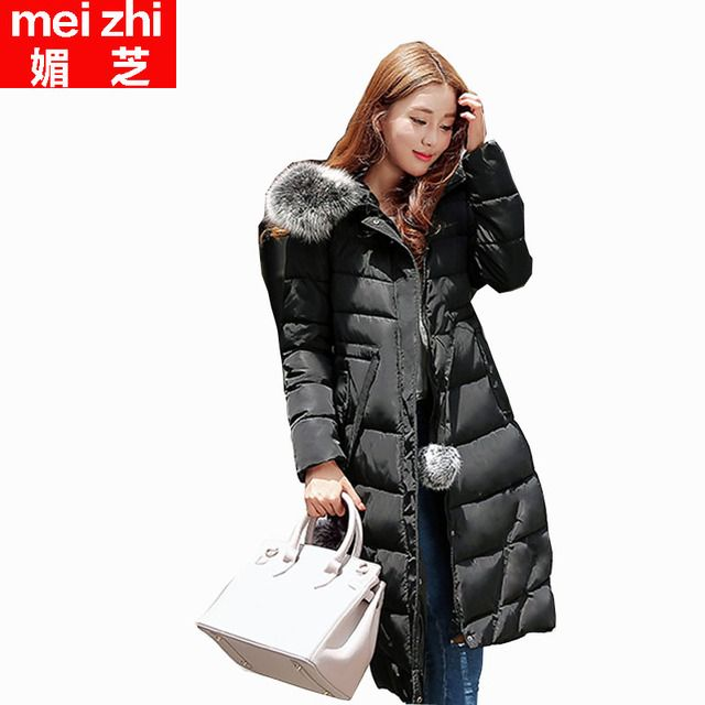 2016 winter in the south Korean women's hooded loose over-the-knee long bread down cotton-padded jacket cotton-padded clothes
