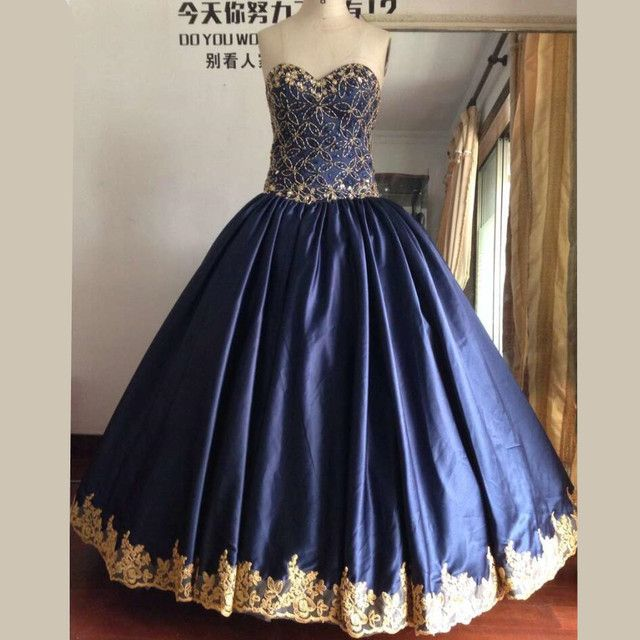 Real Image Ball Gown Navy Blue Quinceanera Dresses with Gold Beads and Crystals Sweet 16 Dresses Quinceanera Dresses 2016
