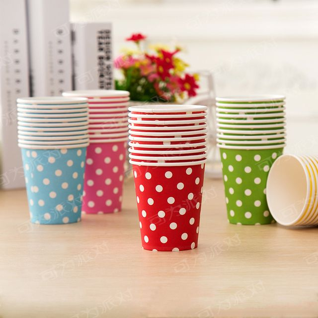Multicolor Polka Dot Baby Disposable Paper Cups Disposable  Drink Cup Polka Dots Paper Cups Wedding kids Birthday Party Supply