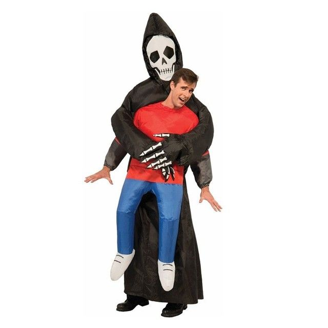JYZCOS Grim Reaper Scary Halloween Costumes Wrestler Witch Ghost Rider Pumpkin Skeleton Skull Inflatable Illusion Blowup Suit