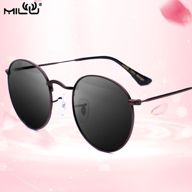 MILU Luxury Brand Logo Women sunglasses Round Fashion Outdoor Shopping Polarized Mirror UV400 Lens 3447
