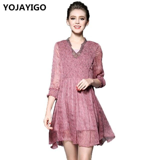 YOJAYIGO New 2017 Summer Fashion Women Dress,V-Neck Lace Slim Sexy Loose Nail bead Dress,Pink And Green Casual Vestidos