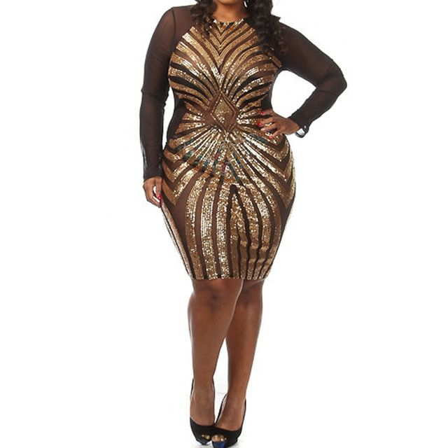 Plus size Diamond Luxe Sequined Dress Sexy Long Sleeve Mesh Patchwork Pencil Midi Dress Sexy Club Night  Bodycon Dress 4472