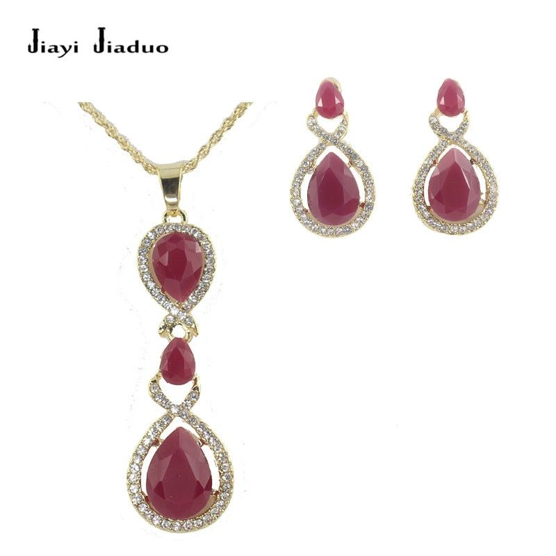jiayi jiaduo Indian Retro Jewelry Set Charm for Women Gold-Color Necklace Earrings Pendant Bridal Party Clothing Accessories Gif