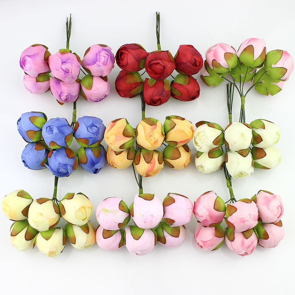6Pcs Silk Roses Artificial rose tea flowers Bouquet for Wedding Decoration DIY Wreath Gift Box Scrapbooking Craft Fake Flower