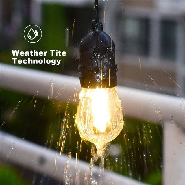 7M 24ft Waterproof E27 LED String Lights with 7 Fliament Clear Bulbs Outdoor Garden Patio Backyard Holiday LED String Lights