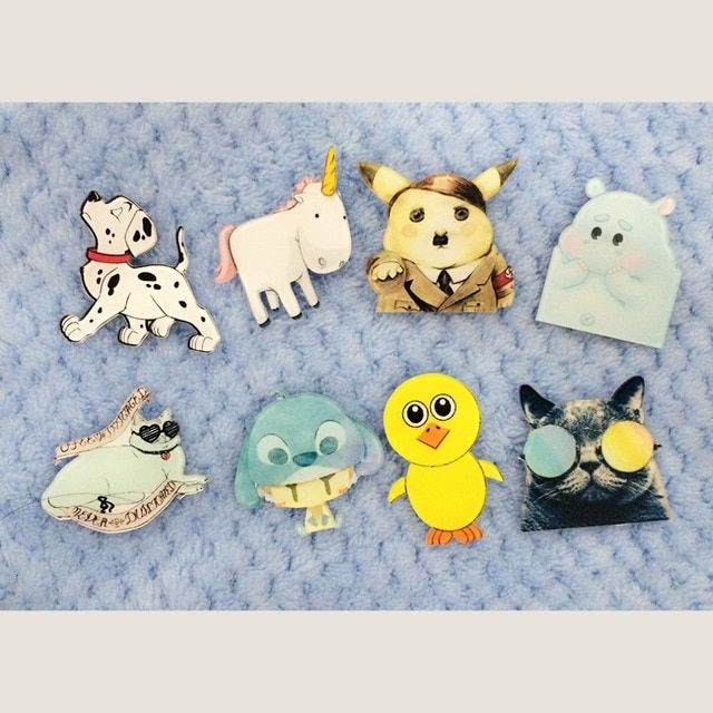 1 PC Icon  Kawaii Animal Badge Harajuku Acrylic Pin Badges Cartoon Backpack Pins Icons