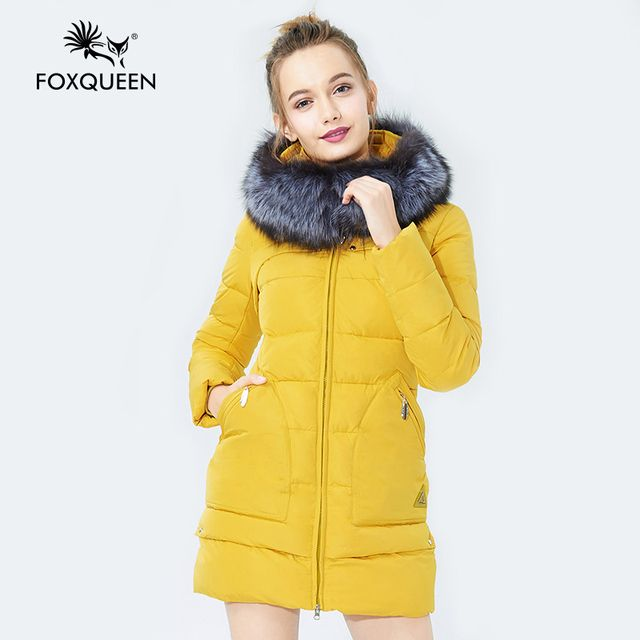 Foxqueen 2017 Warm Winter Fashion Women Thick  Cotton Jacket Hooded Coat Parka With Silver Fox Fur Collar Free Shipping 823