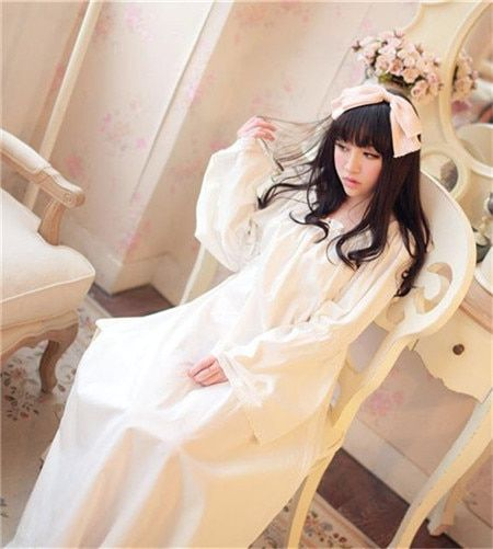 New arrival Flare Sleeve Vintage 100%cotton princess nightgown soft one-piece full dress,Square collar elegant pyjama vestidos