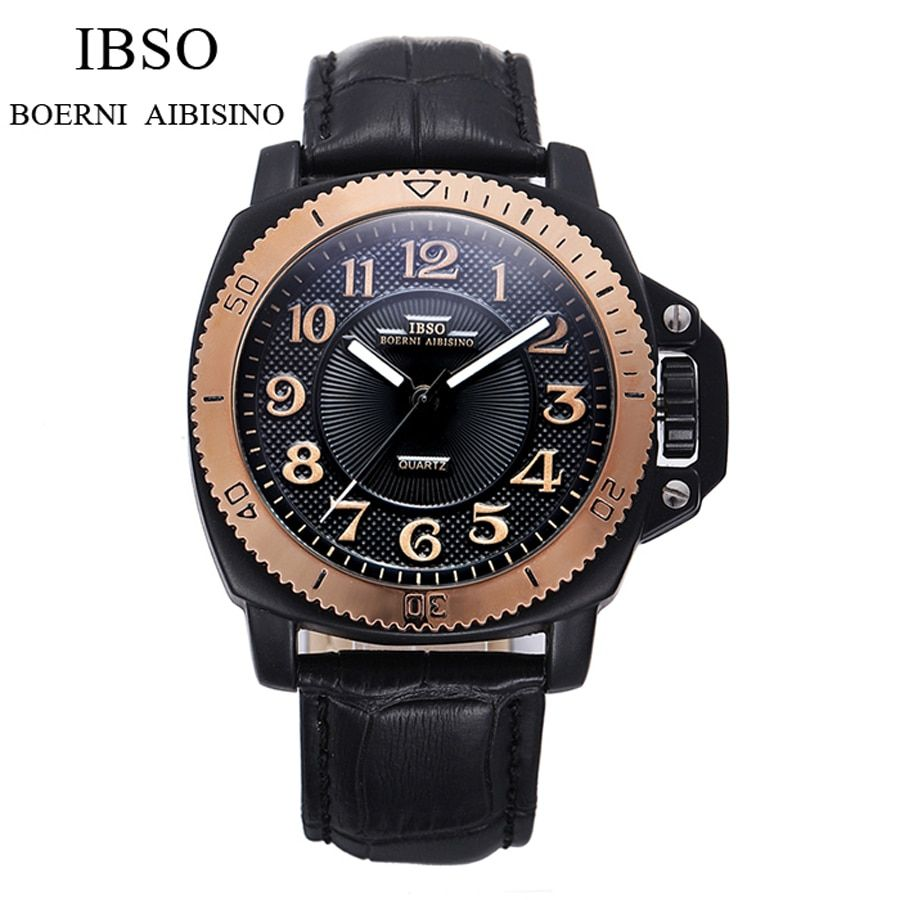 IBSO Famous Brand Mens Watches Top Brand Luxury Sports Quartz-watch Clock Leather Strap Male Wristwatch Relogio Masculino