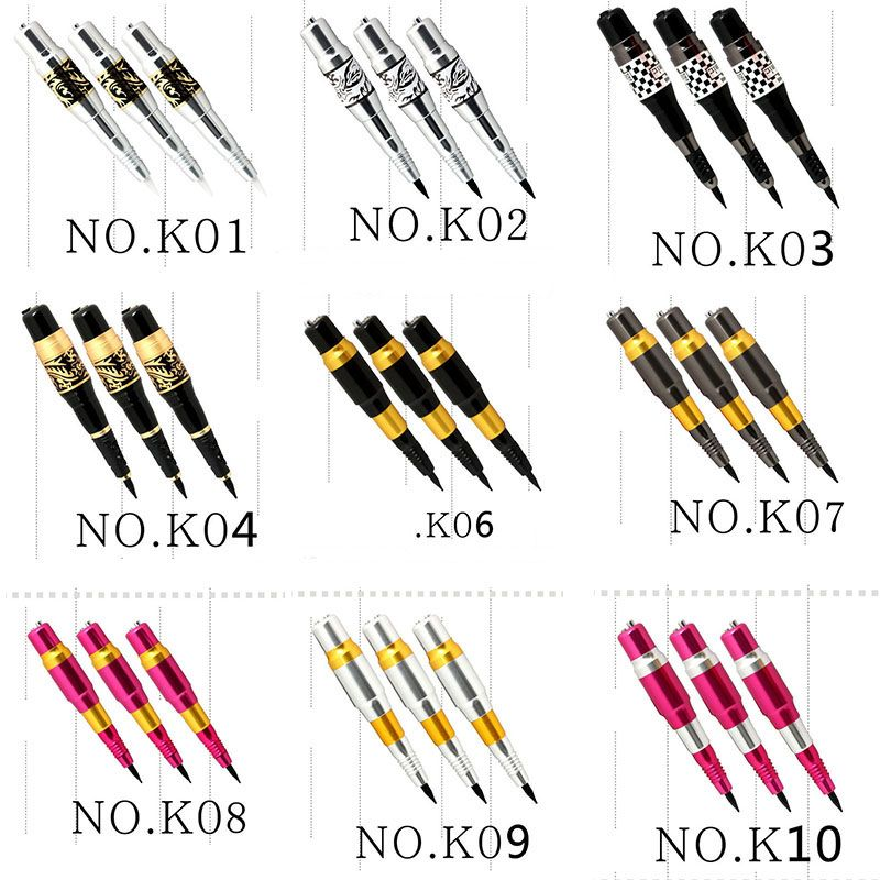 10 pcs Microblading tebori Pen PCD Microblade Needle Holder eyebrow Permanent Makeup Manual Tattoo Pen with AC adapter