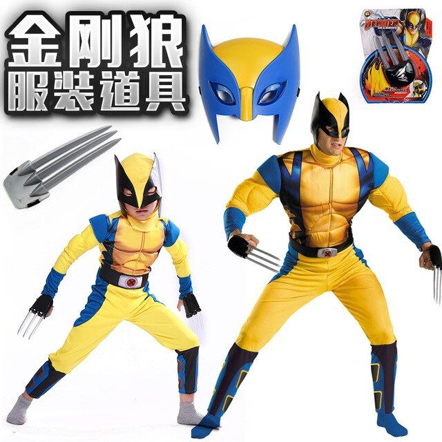 2017 Boys X-man Logan Origins Marvel Superhero Halloween Costumes Kids Adults Carnival Party Performance Cosplay Clothing