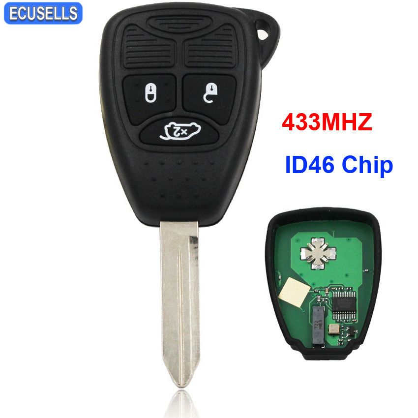 3 Button Remote Key Smart Car Key Fob Keyless Entry 433MHZ with ID46 Chip for Chrysler 300C C300 PT Cruiser Sebring Uncut Blade