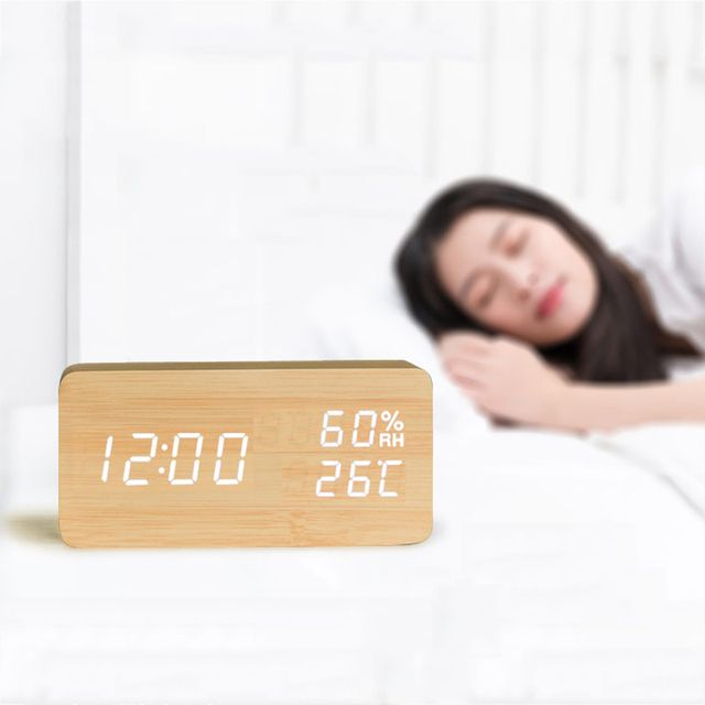 Sound Control LED Alarm Clocks Wooden Despertador Temperature Display Alarm Clock Electronic Desk Clock Digital Wood Table Clock