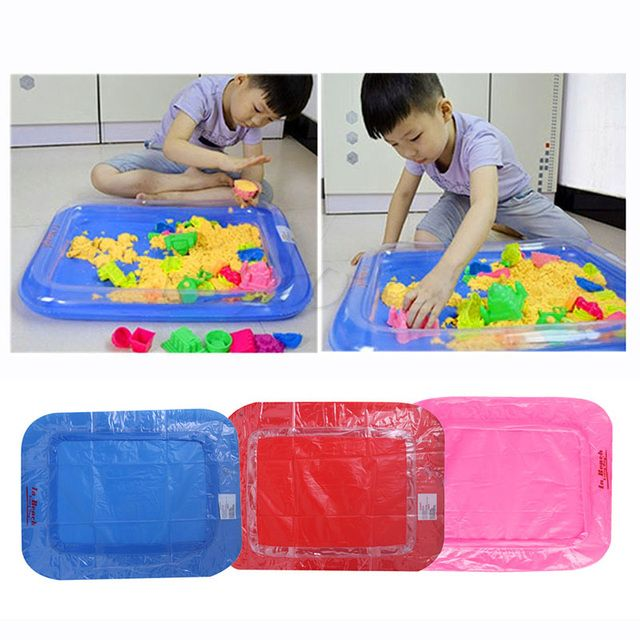 Inflatable Sand Tray Castle  Mobile Table Multi-function Sand Mold Plastic Children Kids  Clay Color Mud Toys Indoor Play Sand