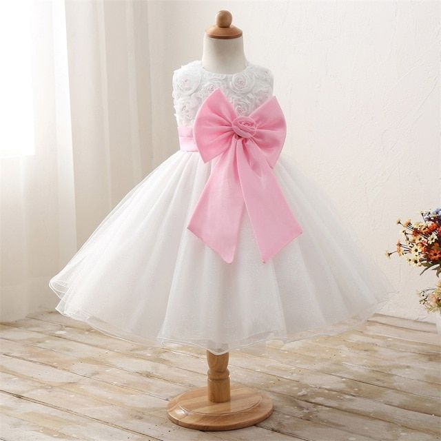 2018 new flowers girls dress for wedding party baby dresses princess kids costume baby clothes with bow-knot children clothing
