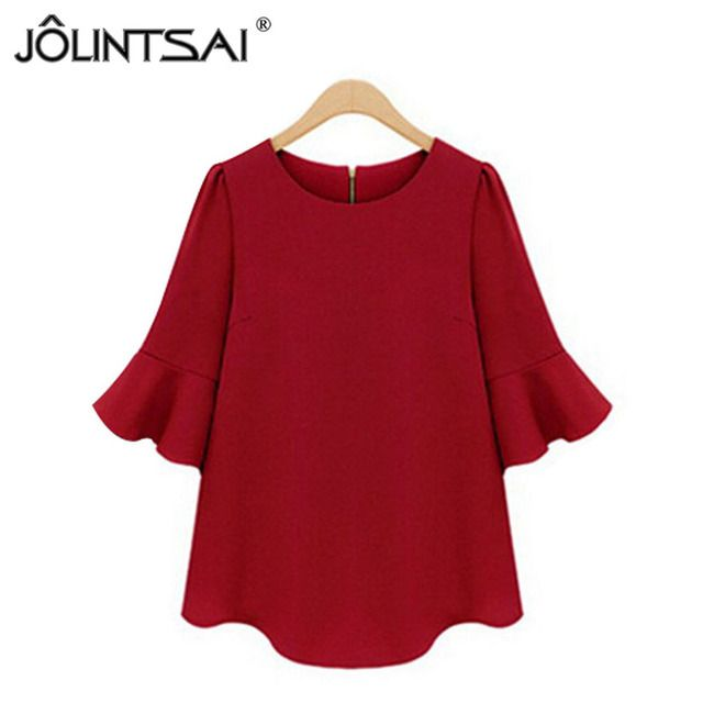 Women Blouses 2016 Summer Casual Women Tops Chiffon Blouse Flare Sleeve Shirts Loose Blusa Feminina Plus Size XL-5XL