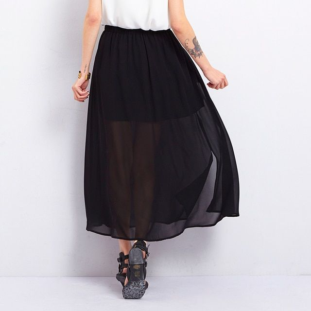 Toyouth 2017 Summer Fashion Black Skirts High Side Slit With Waist Band Women See-Through Sheer Pleated Chiffon Maxi Long Skirts