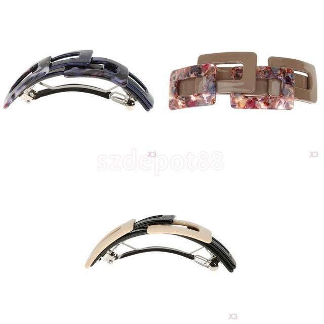 3x3pcs Simple Leopard Print Large French Barrette Hair Riser Ponytail Holder Clips Accessories