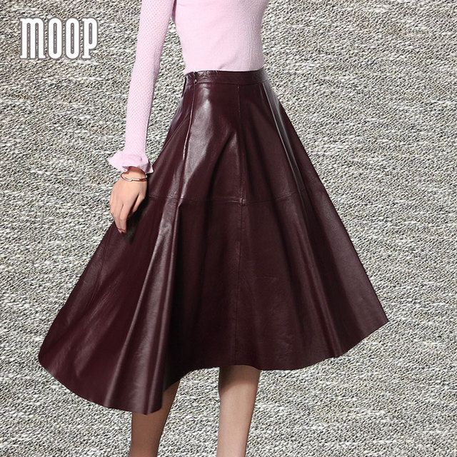 Black red genuine leather skirts women A-Line flare skirt faldas jupe saia etek 100%lambskin bottom Free shipping LT560