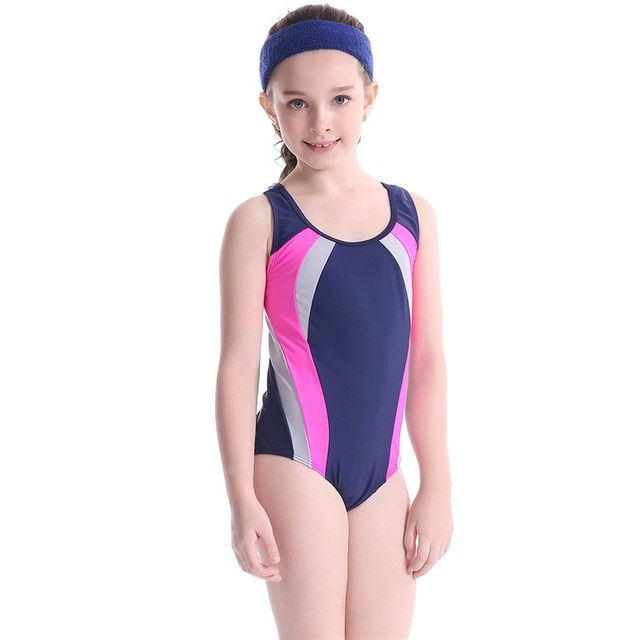 Children One Piece Swimsuit Girls Sports Swimwear Child Beach Patchwork Swimsuit Bodysuits Baby Bathing Suit