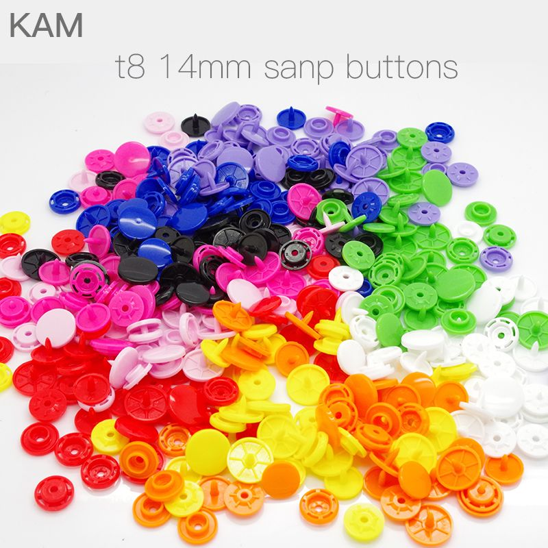 {10 colors KAM T8 14mm 100sets } Glossy plastic Large KAM Round Snap Button Fastener buttons Diaper DIY Colors Mixed Long Prong