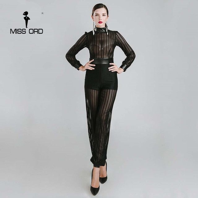 Missord 2017 Sexy high-necked long-sleeved Thread empty PU JUMPSUITS FT4796