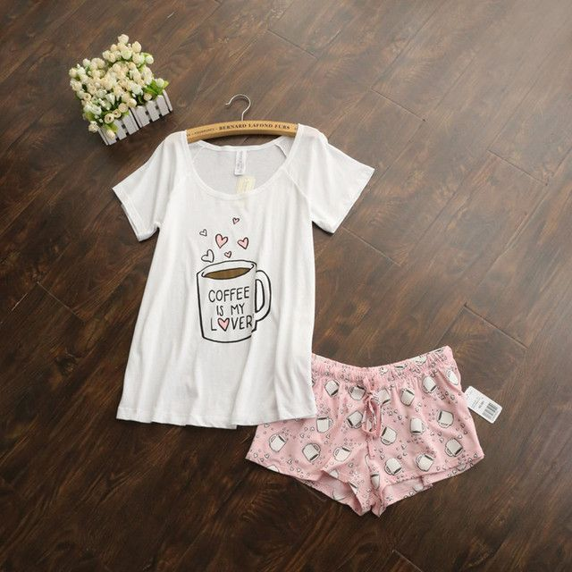 Cute women sets with white and pink /grey and green color coffee cups printed women sexy sets hot selling