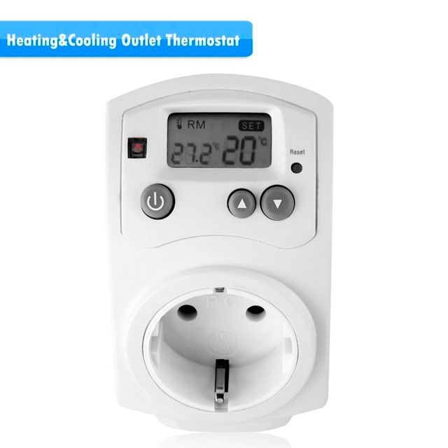 New Arrival Plug In Heating & Cooling Thermostat Temperature Controller White EU Type Ideal For Heating And Cooling Appliance