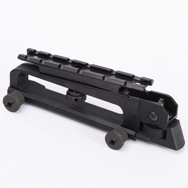 Tactical M4 M16 AR15 Detachable Standard Carry Handle Mount Aluminum and Steel Construction Rear Adjustable Sight for 20mm Rail