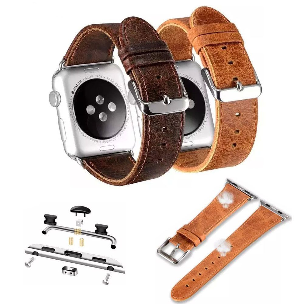 Retro Style Genuine Leather Strap For Apple Watch iWatch 42mm 44mm 38mm 40mm Leather Watch Band For Apple Watch Series 4 3 2 1