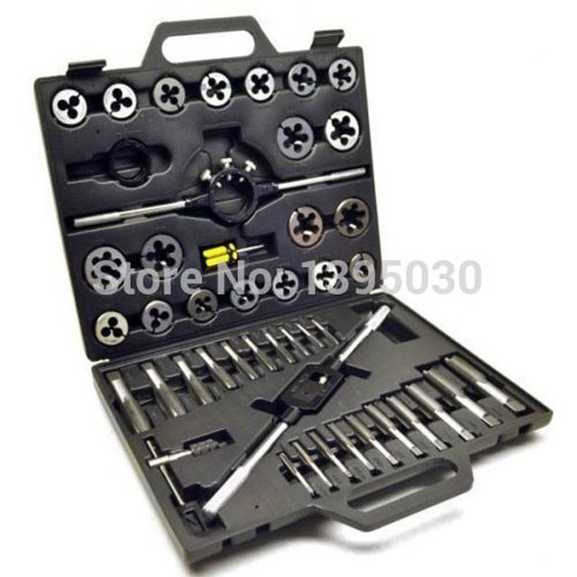 1Set Alloy steel 45pcs Metric/British Taper Tap Drill Bit Screw Die Thread Tool Set