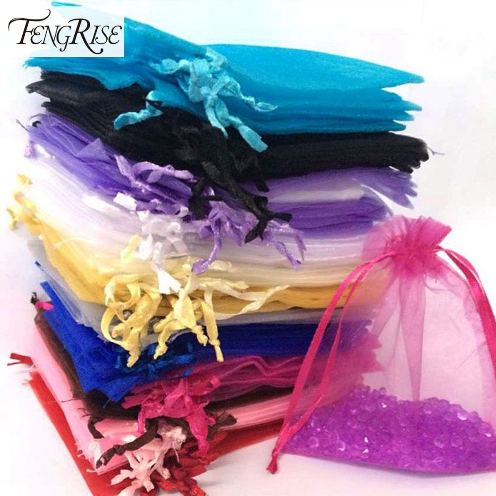 FENGRISE 100ps 10x12cm Jewelry Gift Organza Bags Wedding Favors Candy Pouches Home Party Decoration Crafts Pack Festive Supplies