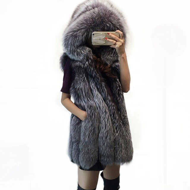 new fashion faux silver fox mink fur vest with hooded women winter slim super long fake fur coat Sleeveless vests female jackets