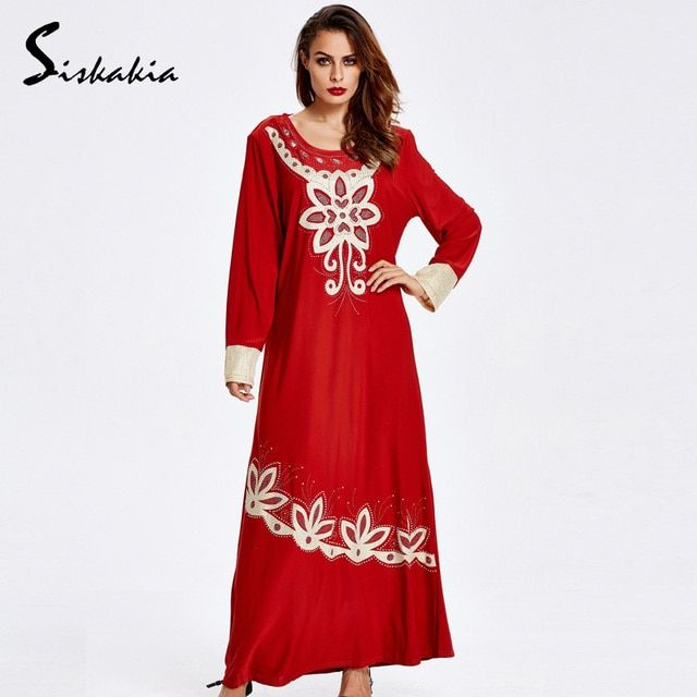 Siskakia Ethnic embroidery long sleeve muslim dress Autumn 2018 women Casual Loose comfortable maxi Dresses UAE Female gowns New